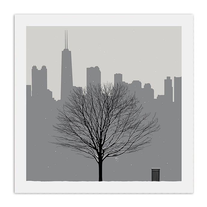 Chicago Skyline with Winter Tree 23