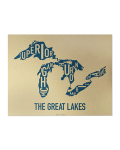 Great Lakes Map Typographic Poster
