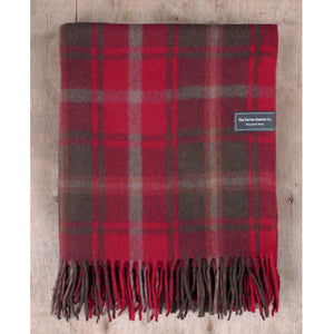 Recycled Wool Throw Blanket in Dark Maple Tartan