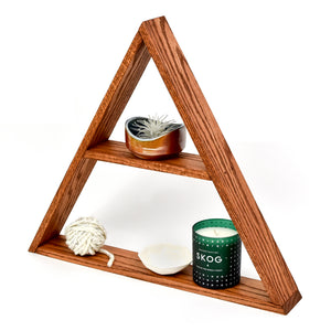 Geometric Oak Wood Triangle Shelf