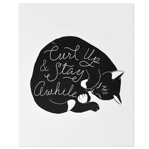 "Curl Up & Stay Awhile Cat 8"" x 10"" Print"