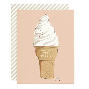 Another Year Sweeter Ice Cream Cone Birthday Card