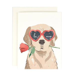 Be Mine Heart Eye Pup Valentines Day Card