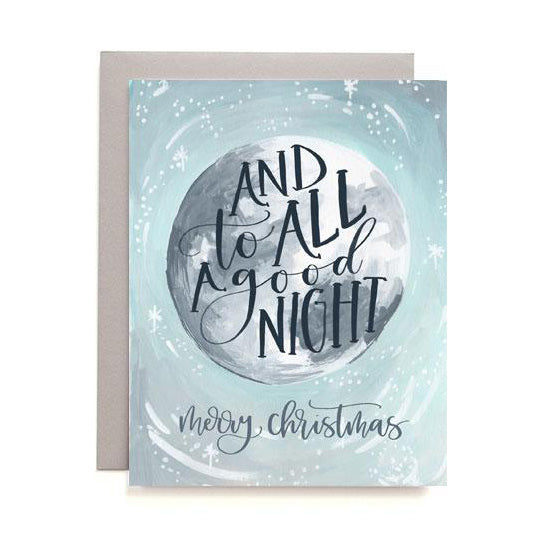 And to All a Good Night Christmas Moon Holiday Card