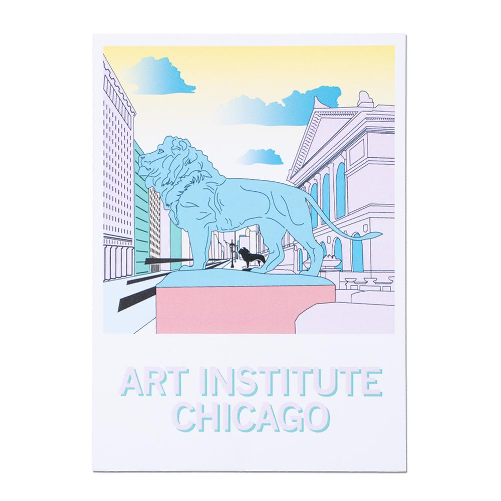 Art Institute Lion Chicago Illustrated Postcard