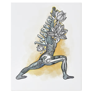 "Anatomical Yoga Warrior Pose 8"" x 10"" Print"