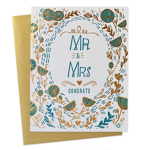 Mr. & Mrs. Floral Foil Card