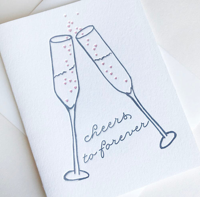 Cheers To Forever Wedding Card