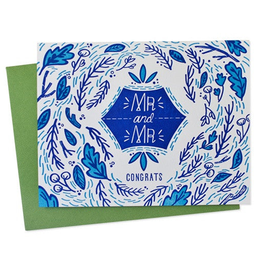 Mr. & Mr. Blue Floral Wedding Card