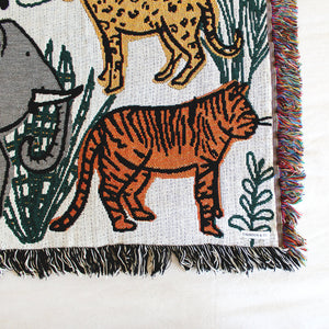 "Into the Jungle Animals 36"" x 50"" Kids or Baby Woven Throw Blanket"