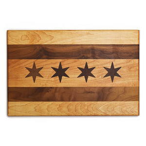 Handmade Chicago Flag Cutting Board