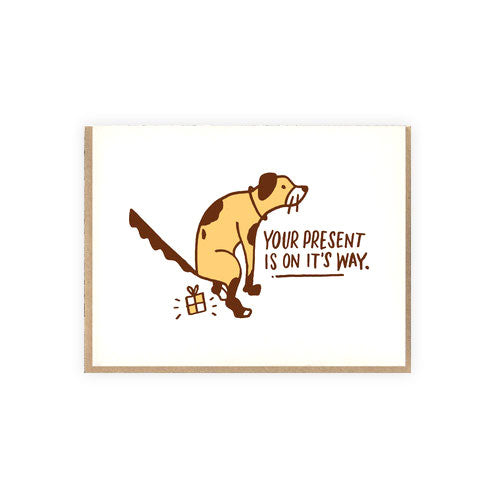 Dog Poop Present Letterpress Birthday Card