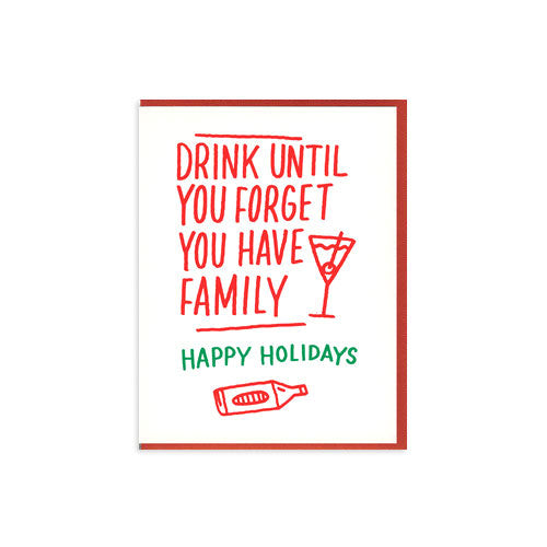 Forget Family Letterpress Holiday Card