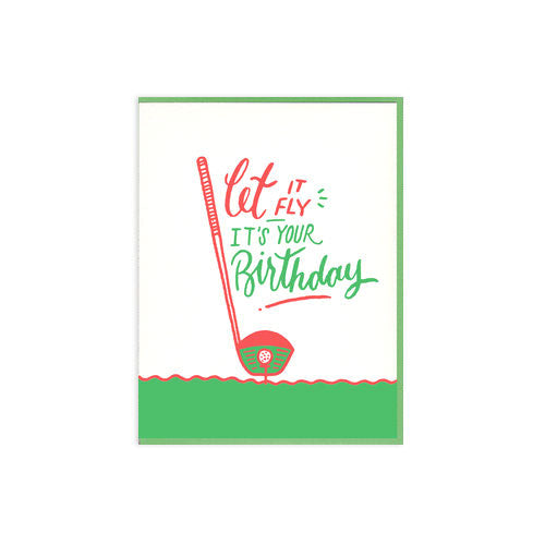 Let It Fly Golf Letterpress Birthday Card