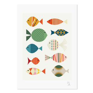 "Fish on White 8.25"" x 11.75"" Archival Print"