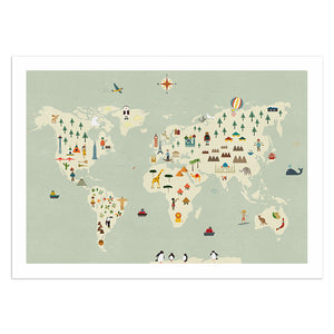 "Illustrated World Map 13"" x 19"" Print"