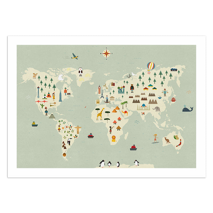 Illustrated World Map 13