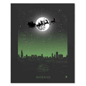 "Chicago Holiday Moon 8"" x 10"" Print"