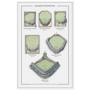 "Baseball Stadiums of the North Side 11"" x 17"" Print"