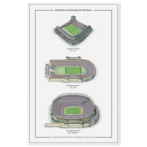 "Football Stadiums of Chicago 11"" x 17"" Print"