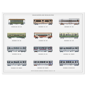 "Rolling Stock of the Chicago ""L"" CTA Train Cars Print"