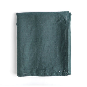 "Dark Pine Green Linen Rectangle 55"" x 70"" Tablecloth"