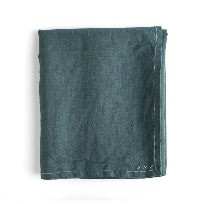 Dark Pine Green Linen Rectangle 55