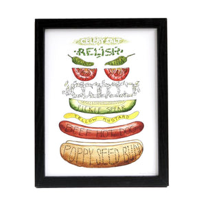 "Chicago Hot Dog Ingredients Diagram 8.5"" x 11"" Print"