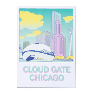 Chicago Cloud Gate Illustration Postcard