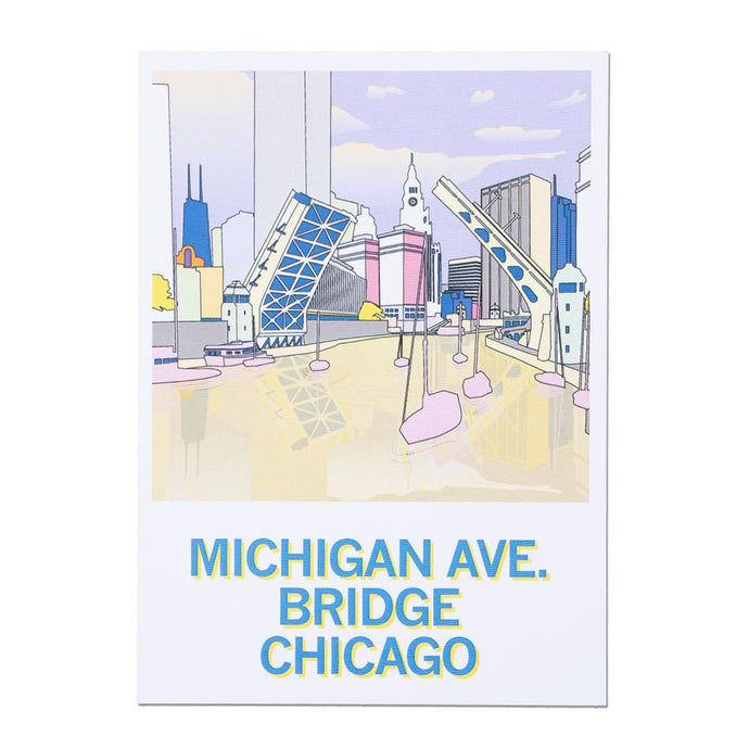 Chicago Michigan Avenue Bridge Illustration Postcard