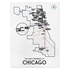 "Chicago Craft Brewery Map 18"" x 24"" Poster"