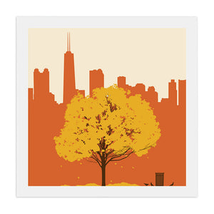 "Chicago Skyline with Fall Tree 23"" x 23"" Screen Print"