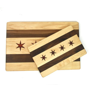 Handmade Chicago Flag Cutting and Serving Board