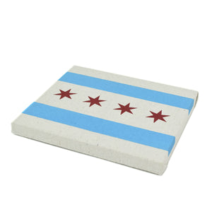 "Chicago Flag 9"" x 8"" Screenprinted Canvas"