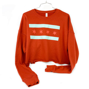 Chicago Flag Women's Crop Burnt Red Sweatshirt