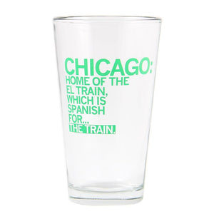 Chicago El Train Pint Glass