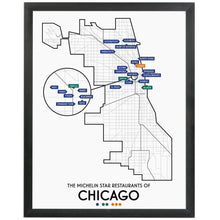 "Chicago 2020 Michelin Star Restaurants Map 11"" x 14"" Print"