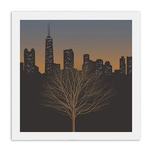 "Chicago Night Skyline with Tree 23"" x 23"" Screen Print"
