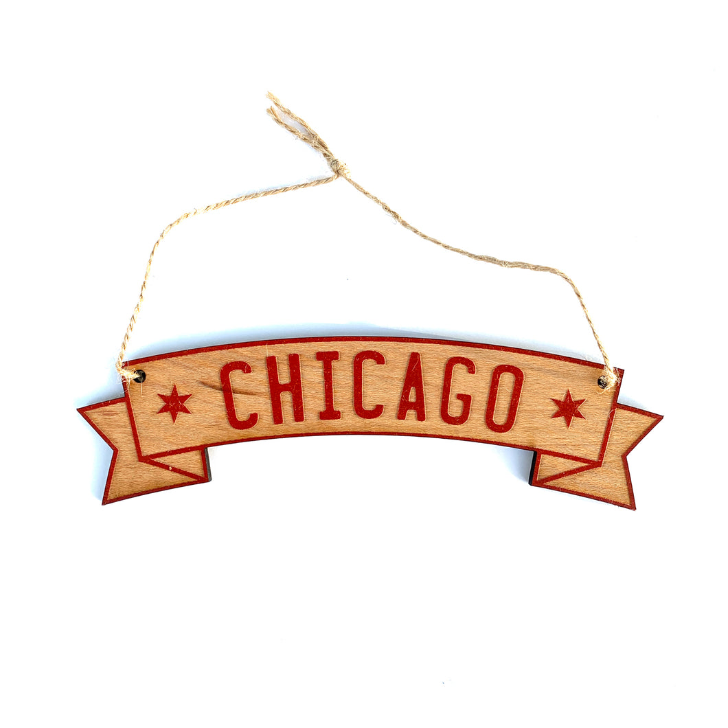 Chicago Red Banner Lasercut Ornament