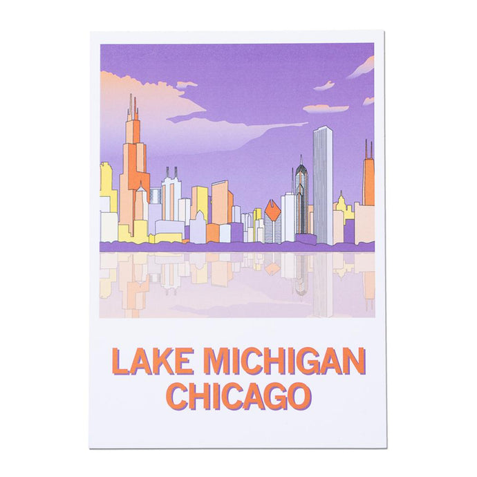 Lake Michigan Chicago Illustration Postcard