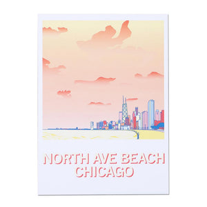 North Avenue Beach Illustration Postcard