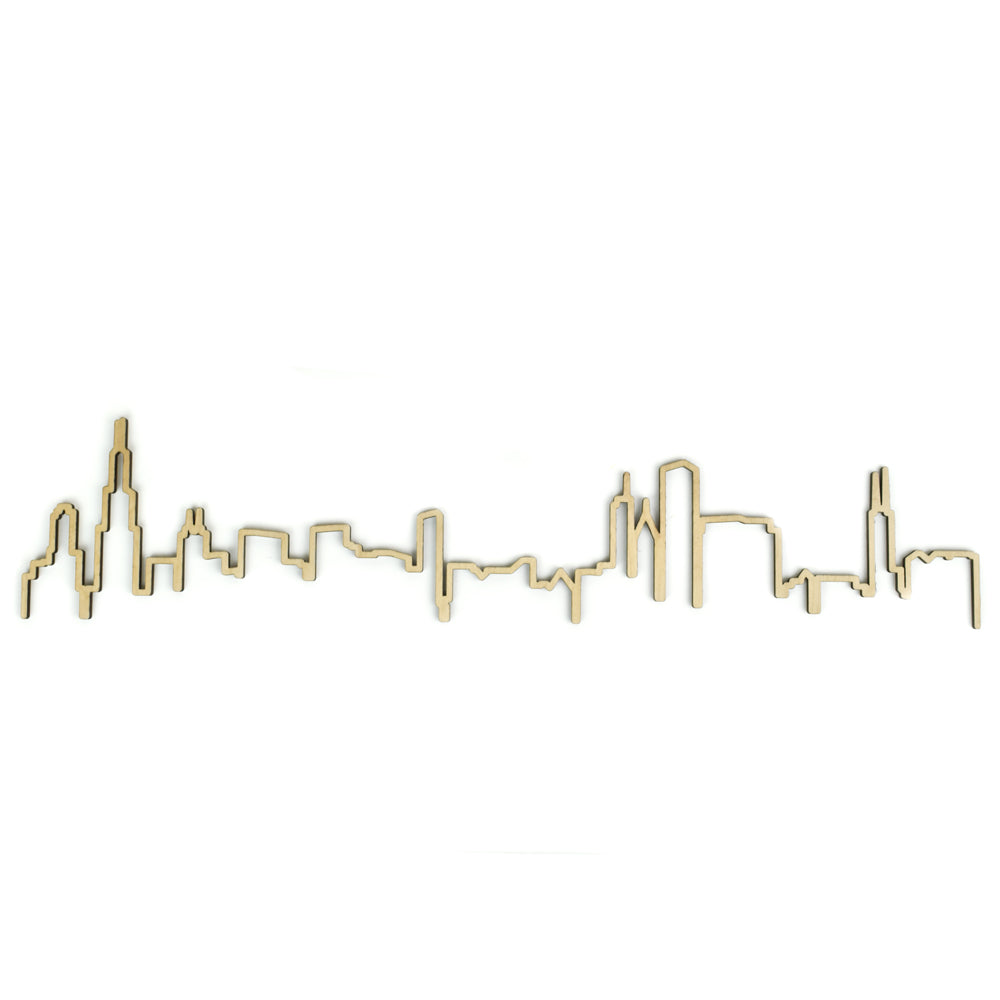 Wedding Gifts Chicago: Chicago Skyline Outline Woodcut Wall Decor
