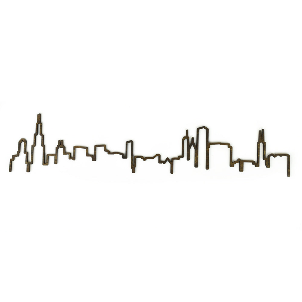 Chicago Skyline Outline Woodcut Wall Decor