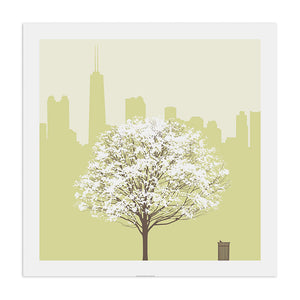 "Chicago Skyline with Spring Tree 23"" x 23"" Screen Print"