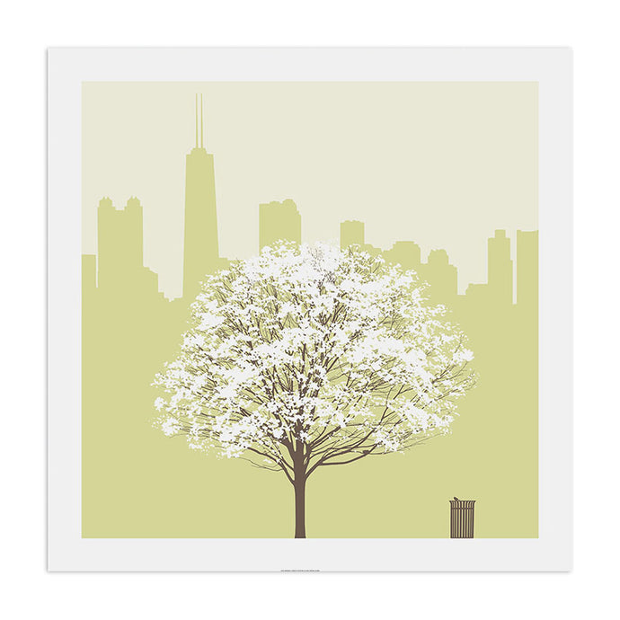 Chicago Skyline with Spring Tree 23
