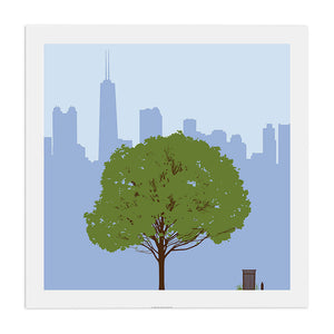 "Chicago Skyline with Summer Tree 23"" x 23"" Screen Print"