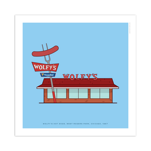 "Wolfy's Hot Dogs Chicago Storefront 8"" x 8"" Archival Print"