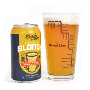 Brown Line Chicago El Train Pint Glass