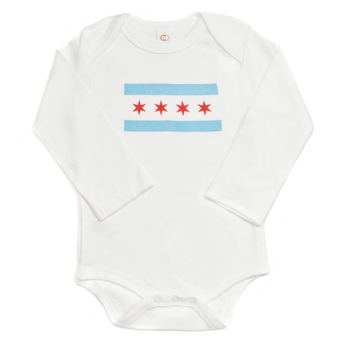 Chicago Flag Baby Long Sleeve Onepiece