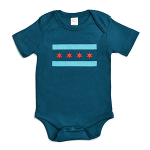 Chicago Flag Baby Organic Onepiece